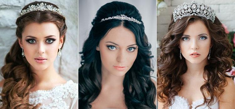 Свадебные причёски с диадемой
